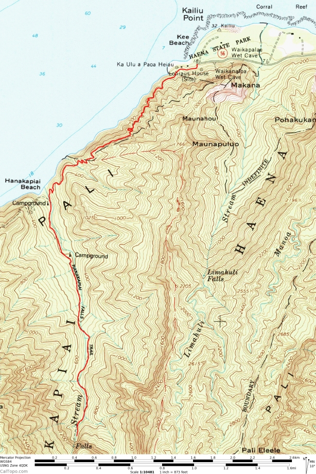 Na Pali Trail Map