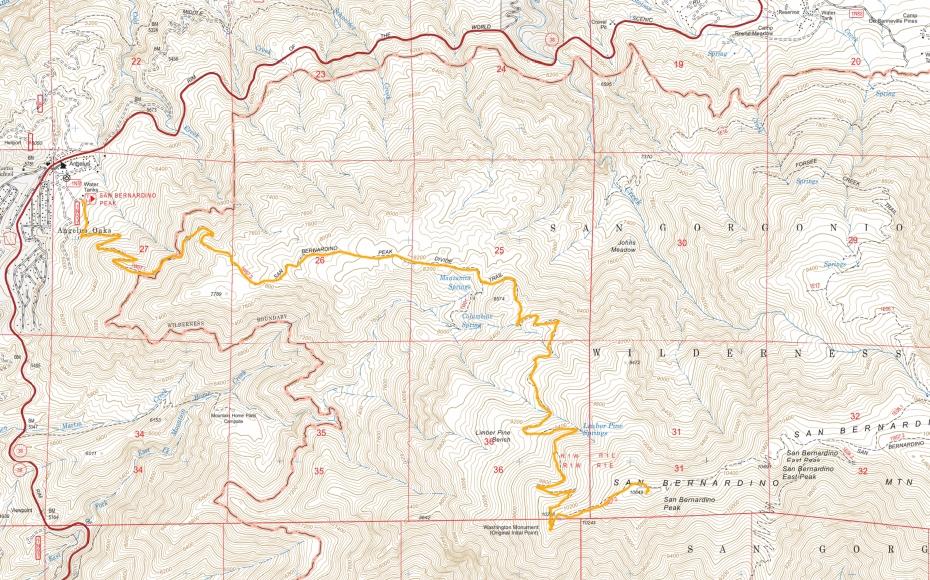 San Bernadino Peak Trail Map